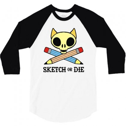 Sketch Or Die Skull Cat 3/4 Sleeve Shirt Designed By Denz