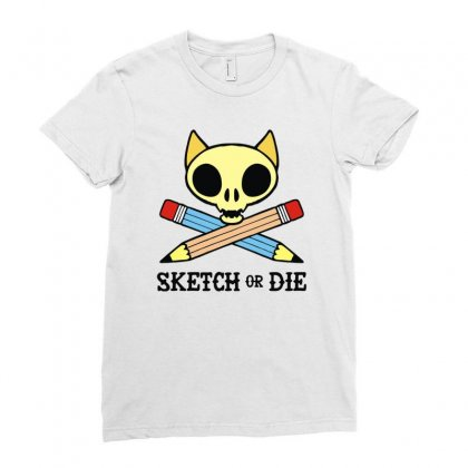 Sketch Or Die Skull Cat Ladies Fitted T-shirt Designed By Denz