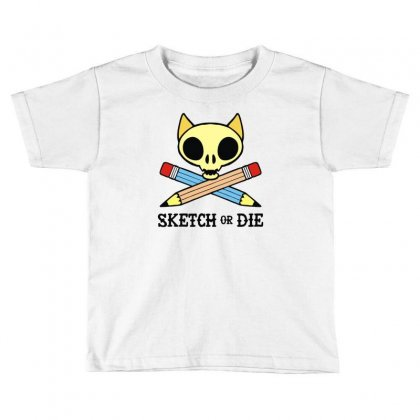 Sketch Or Die Skull Cat Toddler T-shirt Designed By Denz