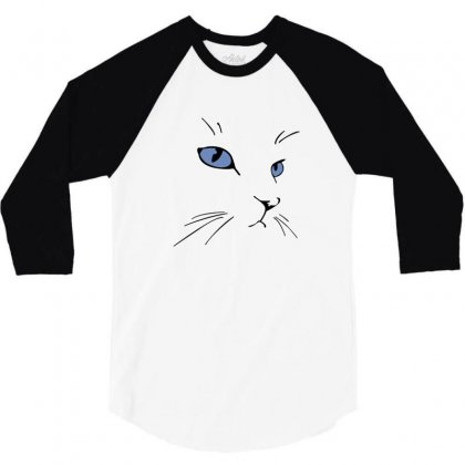 Cat Face 3/4 Sleeve Shirt Designed By Irvandwi2