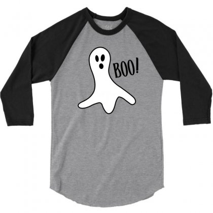 Halloween Ghost Boo Cute Costume Trick Or 3/4 Sleeve Shirt Designed By Mdk Art