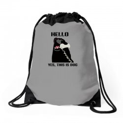 hello yes this is dog telephone phone Drawstring Bags | Artistshot