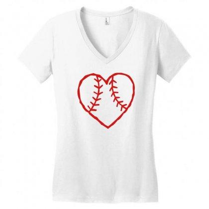 Heart Women's V-neck T-shirt Designed By Mdk Art