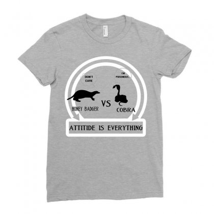 Honey Badger Vs Cobra Attitude Is Everything Ladies Fitted T-shirt Designed By Mdk Art