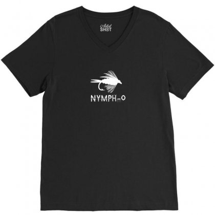 Nymph O Funny Fly Fishing Lure V-neck Tee Designed By Mdk Art
