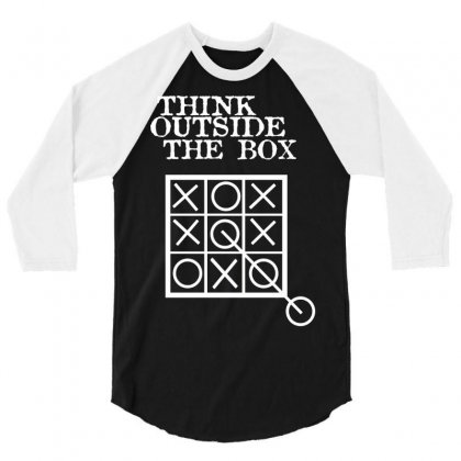 Think Outside The Box Noughts And Crosses 3/4 Sleeve Shirt Designed By Mdk Art