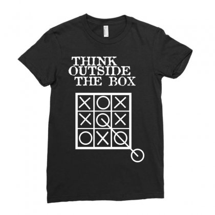Think Outside The Box Noughts And Crosses Ladies Fitted T-shirt Designed By Mdk Art