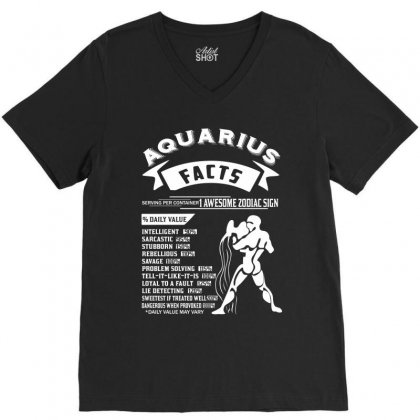 Aquarius Hoodies Aquarius Facts Serving Per Container 1 Awesome Zodiac V-neck Tee Designed By Designbycommodus