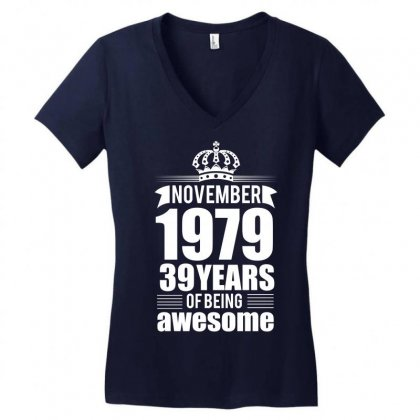 November 1979 39 Years Of Being Awesome Women's V-neck T-shirt Designed By Designbycommodus