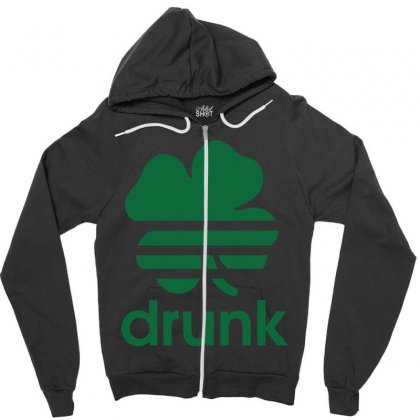 St Patricks Day Drunk Zipper Hoodie Designed By Mdk Art