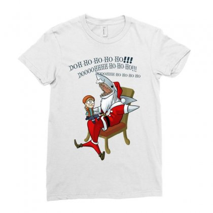 Jaws Santa Ladies Fitted T-shirt Designed By Mdk Art