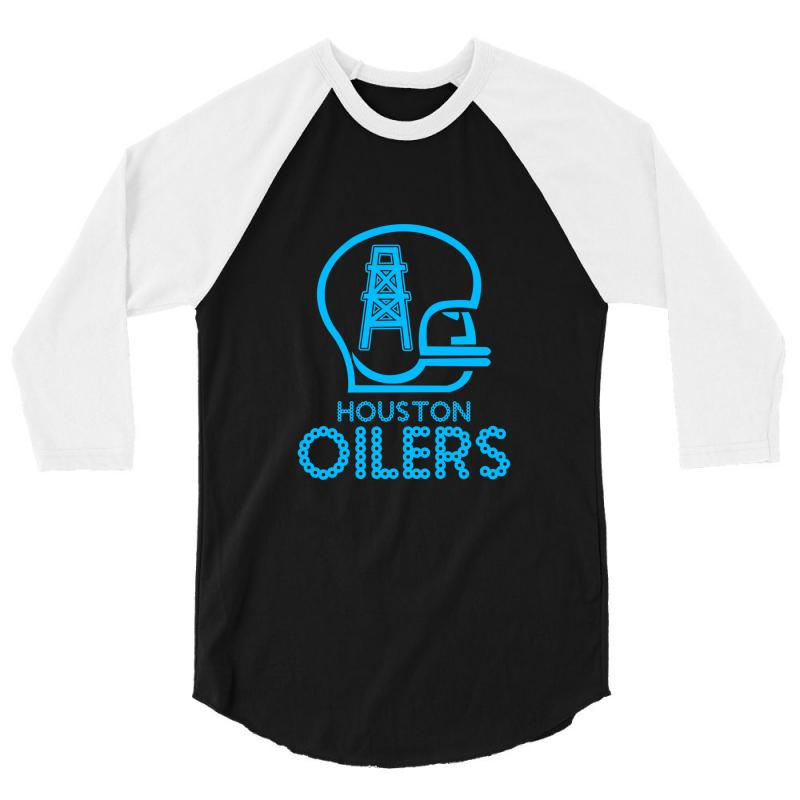 Custom Houston Oilers 1960 Logo Nfl Mens Football Tee 3 4 Sleeve ... a77487c2b