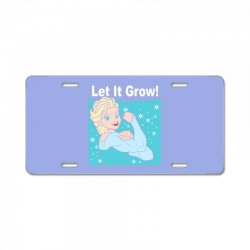funny gym elsa let it grow frozen fitness License Plate | Artistshot