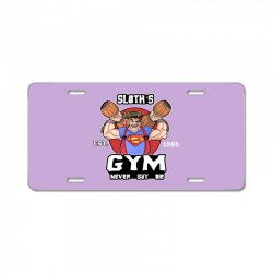 funny gym sloth the goonies fitness t shirt vectorized License Plate | Artistshot