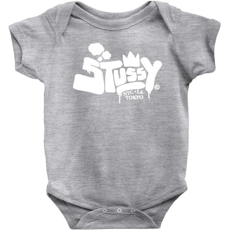 9cf1716423 Custom Stussy London Tokyo Nyc White Baby Bodysuit By Mdk Art - Artistshot