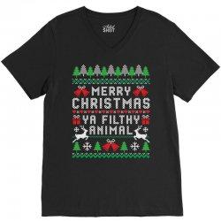 merry christmas ya filthy animal V-Neck Tee | Artistshot
