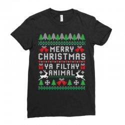merry christmas ya filthy animal Ladies Fitted T-Shirt | Artistshot