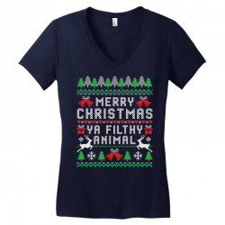 merry christmas ya filthy animal Women's V-Neck T-Shirt | Artistshot