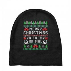 merry christmas ya filthy animal Baby Beanies | Artistshot