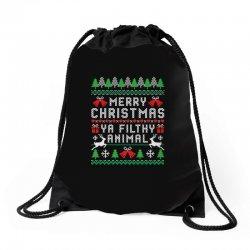 merry christmas ya filthy animal Drawstring Bags | Artistshot
