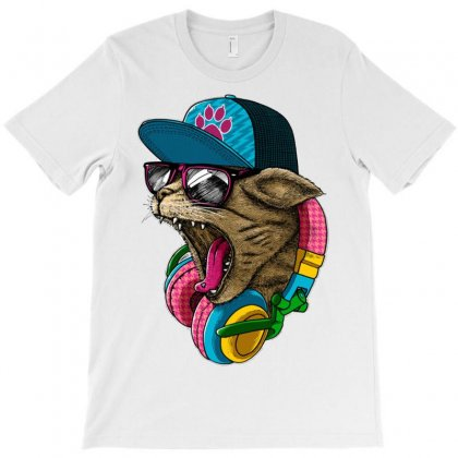 Cool And Wild Cat T-shirt Designed By Mdk Art