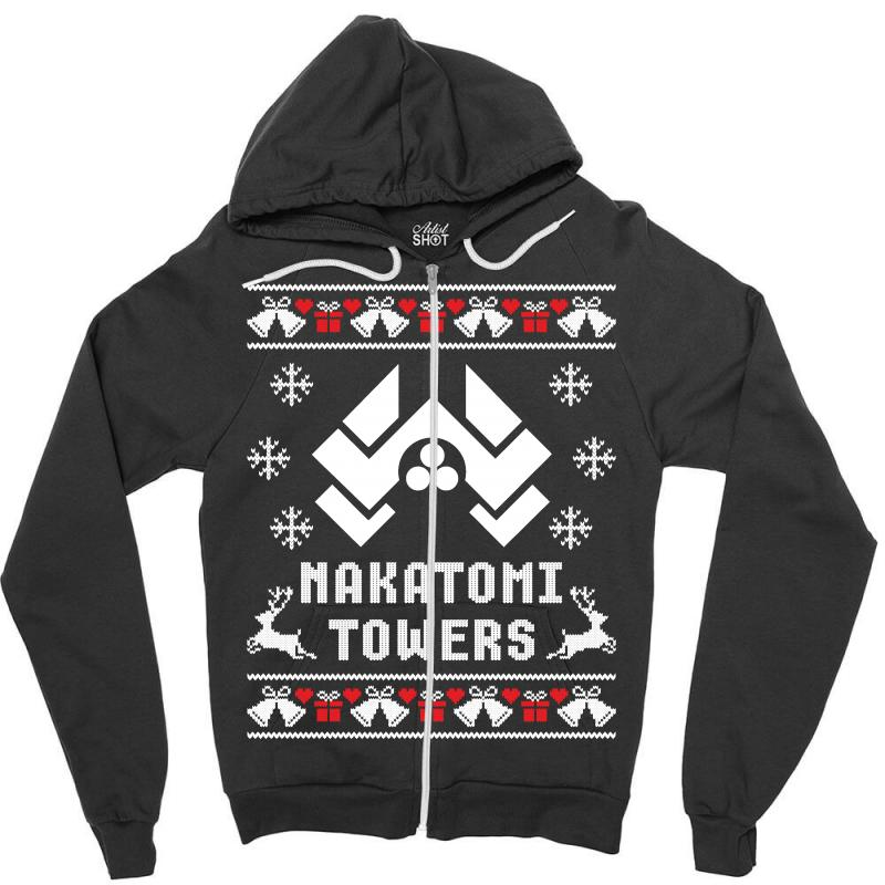 die hard nakatomi towers christmas sweater zipper hoodie artistshot