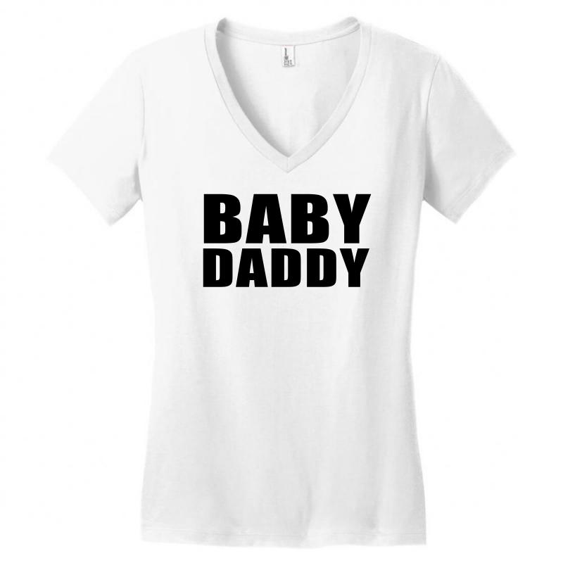 6687b20b3 baby daddy t shirt funny daddy fathers day tee father to be family reu  Women's V-Neck T-Shirt