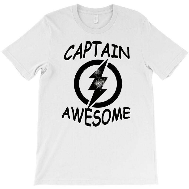 b6a381f0 captain awesome tshirt funny humor tee comic vintage new lightning vtg T- Shirt