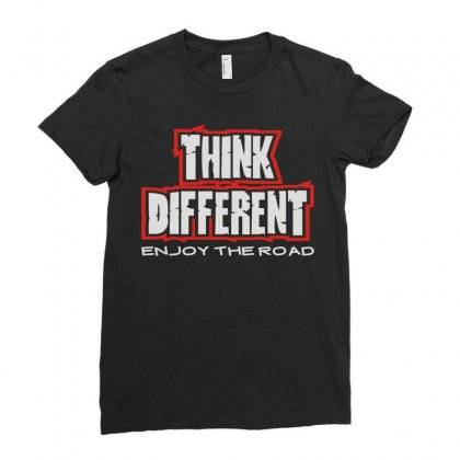 Think Different Ladies Fitted T-shirt Designed By Mdk Art