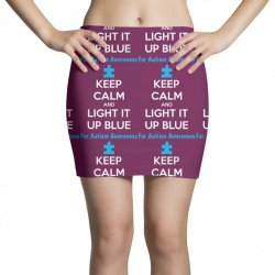 Keep Calm And Light It Up Blue For Autism Awareness Mini Skirts | Artistshot