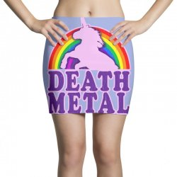 funny death metal unicorn rainbow Mini Skirts | Artistshot