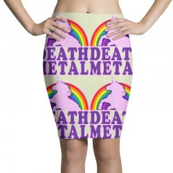 funny death metal unicorn rainbow Pencil Skirts | Artistshot