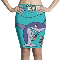 funny shark fishing for humans Pencil Skirts | Artistshot