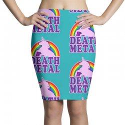 Funny Death Metal Unicorn Rainbow Pencil Skirts | Artistshot
