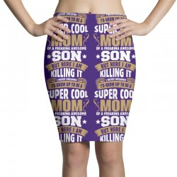 Super Cool Mom Of A Freaking Awesome Son Pencil Skirts | Artistshot