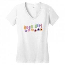 geek girl daisies Women's V-Neck T-Shirt | Artistshot