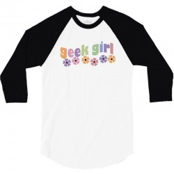 geek girl daisies 3/4 Sleeve Shirt | Artistshot
