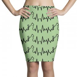 Cat Heartbeat Line Pencil Skirts | Artistshot