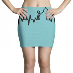 Cat Heartbeat Line Mini Skirts | Artistshot