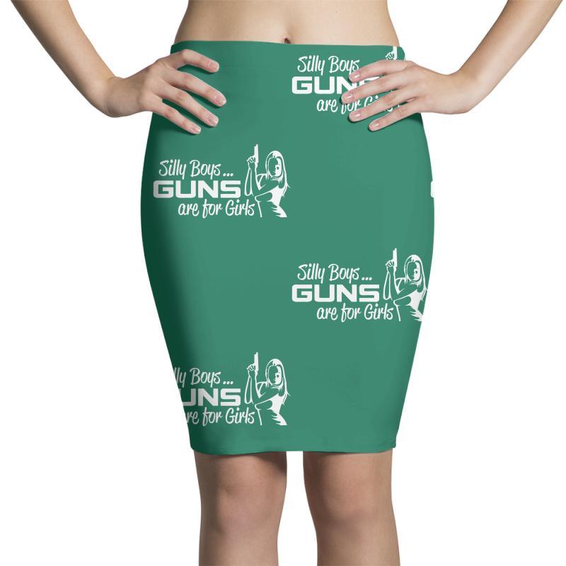 Custom Silly Boys Guns Girls Pencil Skirts By Marla_arts - Artistshot