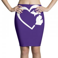 michigan heart love Pencil Skirts | Artistshot