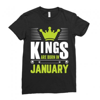 Kings Are Born In January Ladies Fitted T-shirt Designed By Sabriacar