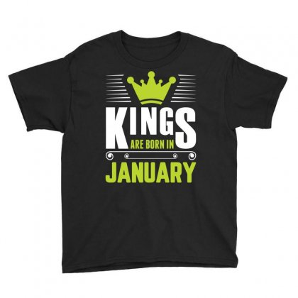 Kings Are Born In January Youth Tee Designed By Sabriacar