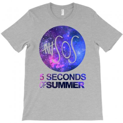 5sos Five Seconds Of Summer Logo Circle Galaxy White T-shirt Designed By Permatasarisekar
