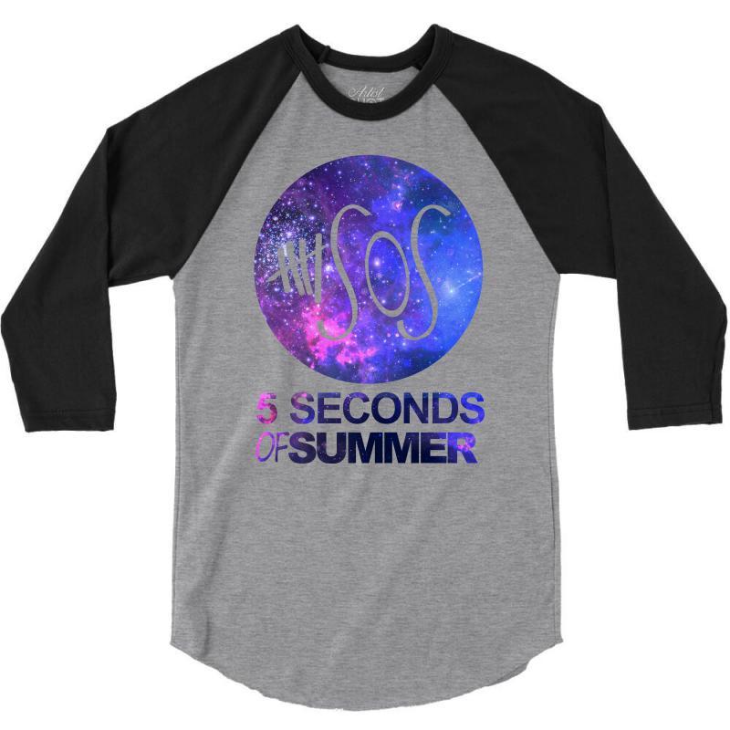 afe00f410fa3 Custom 5sos Five Seconds Of Summer Logo Circle Galaxy White 3 4 Sleeve Shirt  By Permatasarisekar - Artistshot