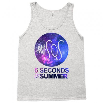 5sos Five Seconds Of Summer Logo Circle Galaxy White Tank Top Designed By Permatasarisekar