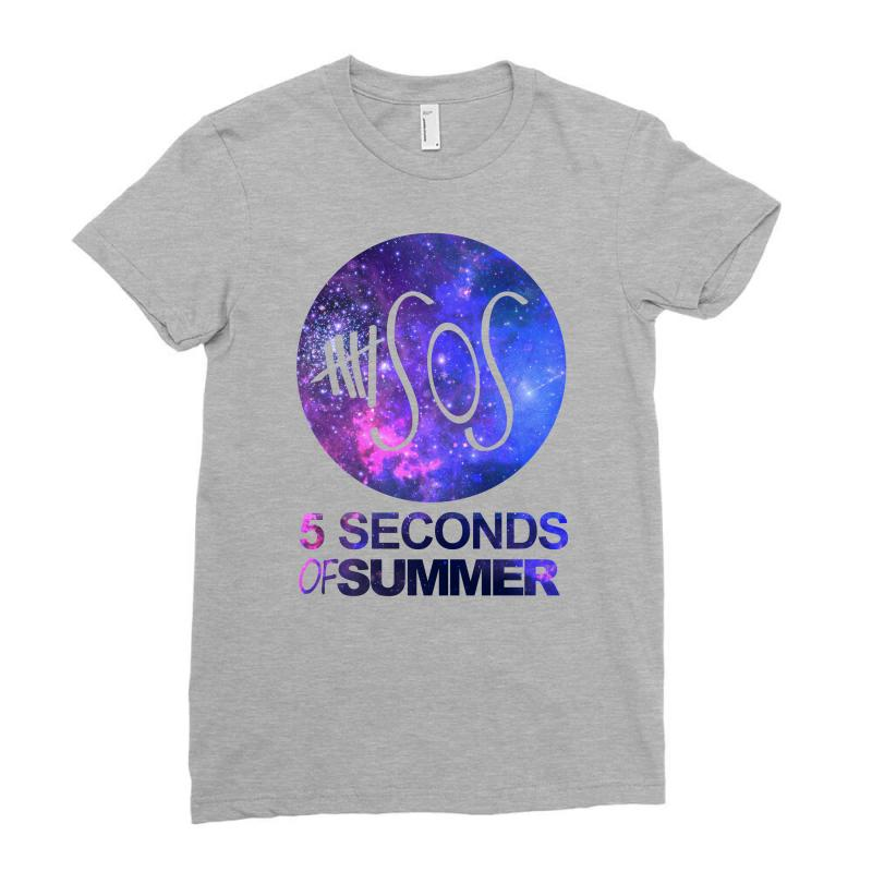 5sos Five Seconds Of Summer Logo Circle Galaxy White Ladies Fitted T-shirt   Artistshot