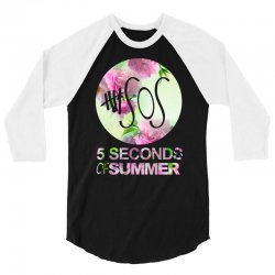 5sos five seconds of summer logo circle floral flowers 1 one direction 3/4 Sleeve Shirt | Artistshot