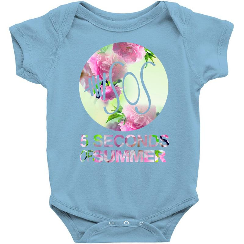 d5680572926c 5sos five seconds of summer logo circle floral flowers 1 one direction Baby  Bodysuit