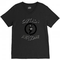 captain awesome tshirt funny humor tee comic vintage new lightning vtg V-Neck Tee | Artistshot
